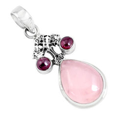 925 silver 13.07cts natural pink rose quartz garnet holy cross pendant p47294