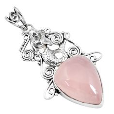 925 silver 19.43cts natural pink rose quartz pear fairy mermaid pendant p59863