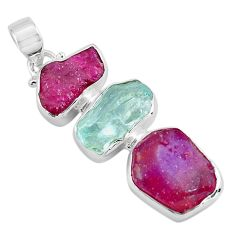 925 silver 14.45cts natural pink ruby rough aquamarine rough pendant p88137