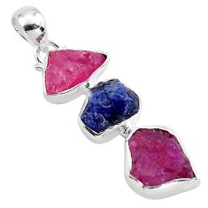 925 silver 14.14cts natural pink ruby rough sapphire rough pendant p88064