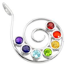 925 silver 6.57cts natural purple amethyst cornelian round chakra pendant p83710