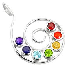 925 silver 5.74cts natural purple amethyst cornelian round chakra pendant p83714