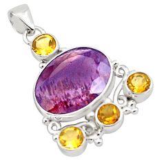 925 silver 18.17cts natural purple cacoxenite super seven citrine pendant p88634