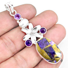 925 silver 21.67cts natural purple charoite (siberian) flower pendant d30953