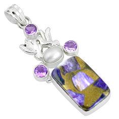 925 silver 27.79cts natural purple charoite (siberian) love birds pendant d31975