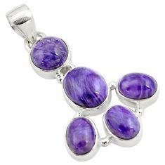 925 silver 14.40cts natural purple charoite (siberian) oval pendant p78431