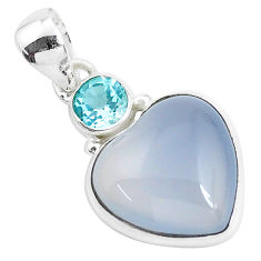 925 silver 14.23cts natural purple grape chalcedony topaz heart pendant p47158