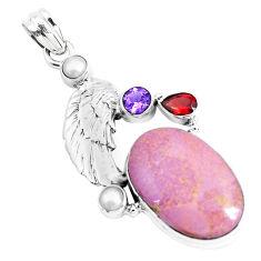 925 silver 22.73cts natural purple phosphosiderite amethyst pearl pendant p49448