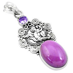 925 silver 14.61cts natural purple phosphosiderite oval angel pendant p49920