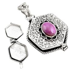 925 silver 3.81cts natural purple phosphosiderite poison box pendant p79938