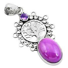925 silver 14.19cts natural purple phosphosiderite tree of life pendant p49916