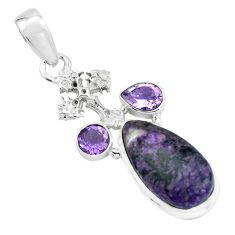 925 silver 12.36cts natural purple sugilite amethyst holy cross pendant p69564