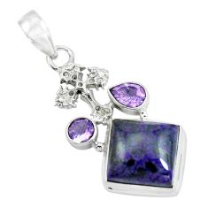 925 silver 15.33cts natural purple sugilite amethyst holy cross pendant p69577