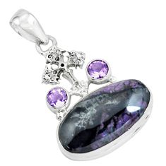 925 silver 19.00cts natural purple sugilite amethyst holy cross pendant p69580