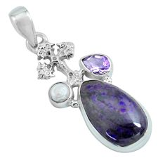 925 silver 14.12cts natural purple sugilite amethyst holy cross pendant p69640