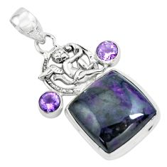 925 silver 21.30cts natural purple sugilite cupid angel wings pendant p69573