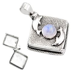 925 silver 4.56cts natural rainbow moonstone poison box dolphin pendant p92844