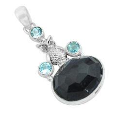 925 silver 19.27cts natural rainbow obsidian eye blue topaz owl pendant p69631