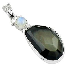 925 silver 19.23cts natural rainbow obsidian eye moonstone pendant p79138