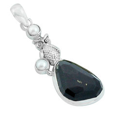 925 silver 17.69cts natural rainbow obsidian eye pearl owl pendant p69629