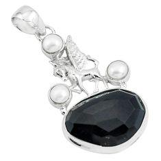 925 silver 19.00cts natural rainbow obsidian eye pearl unicorn pendant p69616