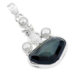 925 silver 20.45cts natural rainbow obsidian eye white pearl owl pendant p69606