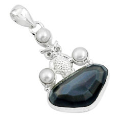 925 silver 18.15cts natural rainbow obsidian eye white pearl owl pendant p69620
