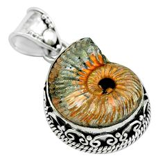 925 silver 18.98cts natural russian jurassic opal ammonite pendant p67318