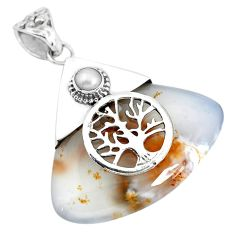 925 silver natural scenic russian dendritic agate tree of life pendant p45517