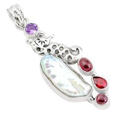925 silver 17.67cts natural white biwa pearl amethyst seahorse pendant p38908