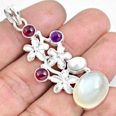 925 silver 16.67cts natural white ceylon moonstone garnet flower pendant d30987