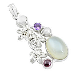 925 silver 14.22cts natural white ceylon moonstone pearl flower pendant d31856