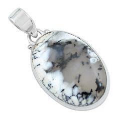 925 silver 17.57cts natural white dendrite opal (merlinite) oval pendant p59577