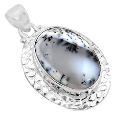925 silver 21.32cts natural white dendrite opal (merlinite) oval pendant p85432
