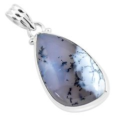 925 silver 15.05cts natural white dendrite opal (merlinite) pendant p46239