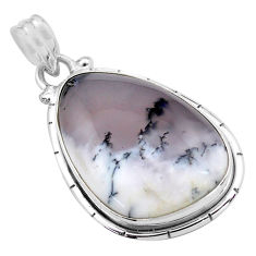 925 silver 18.15cts natural white dendrite opal (merlinite) pendant p85417