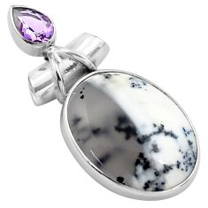 925 silver 18.70cts natural white dendrite opal amethyst pear pendant p85440