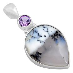 925 silver 15.08cts natural white dendrite opal pear amethyst pendant p85428