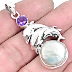 925 silver 10.77cts natural white pearl purple amethyst dolphin pendant p42049