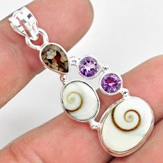 925 silver 11.93cts natural white shiva eye smoky topaz amethyst pendant p70410