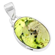 925 silver 14.72cts natural yellow lizardite (meditation stone) pendant p46266