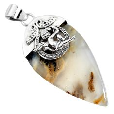 925 silver 30.59cts natural yellow plume agate cupid angel wings pendant p45383