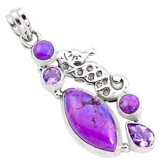 925 silver 15.44cts purple copper turquoise amethyst seahorse pendant p37584