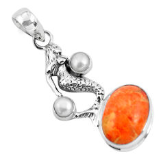 925 silver 9.10cts red copper turquoise pearl fairy mermaid pendant p55112