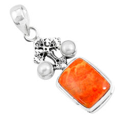 925 silver 11.23cts red copper turquoise white pearl holy cross pendant p55104