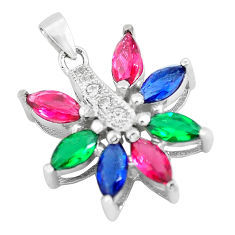 925 silver 4.30cts red ruby (lab) emerald (lab) topaz pendant jewelry c3520