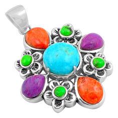 925 silver 12.37cts southwestern blue arizona mohave turquoise pendant c4765