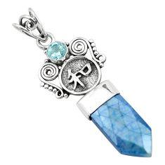 925 silver 13.24cts titanium aura quartz (arkansas) blue topaz pendant p58856
