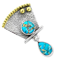 925 silver 4.74cts victorian blue copper turquoise two tone pendant p58763