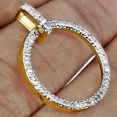 925 STERLING CIRCLE OF 14K GOLD NATURAL WHITE DIAMOND SILVER PENDANT H19873